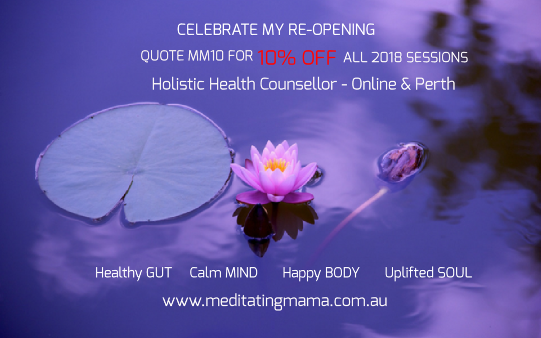 Celebrating my re-opening – Health Counselling Special for 2018